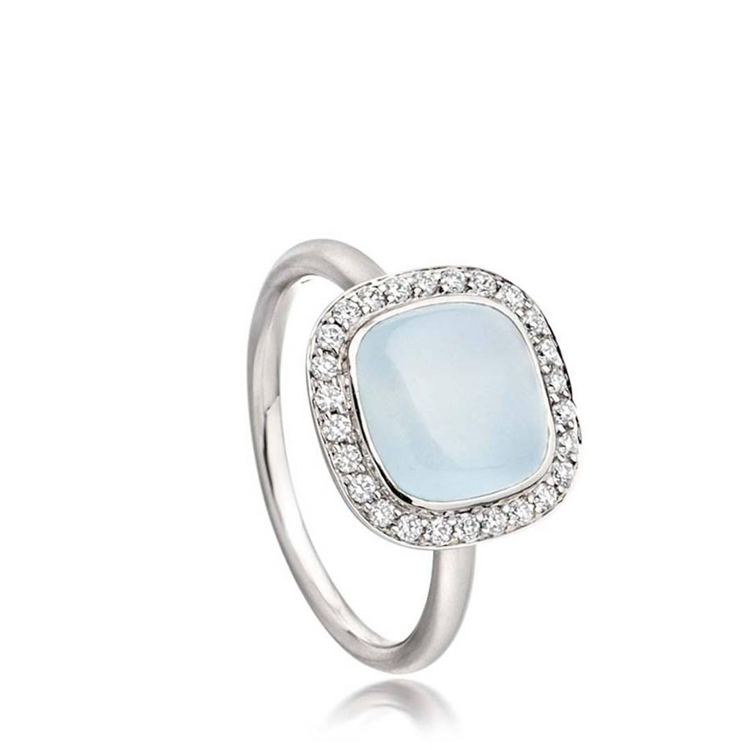 Astley Clarke Mini Astley ring featuring a milky aquamarine surrounded by a melee of diamonds.