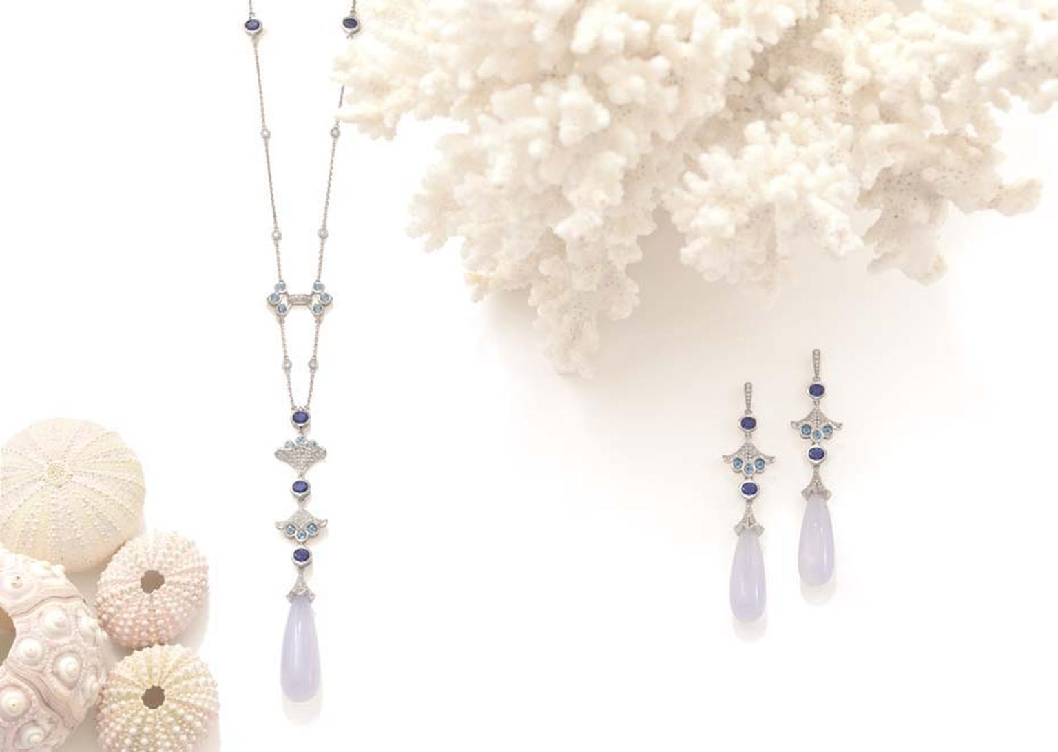 Boodles Ocean Moon necklace and earrings with chalcedony, tanzanites and diamonds, from the new 'Ocean of Dreams' collection.