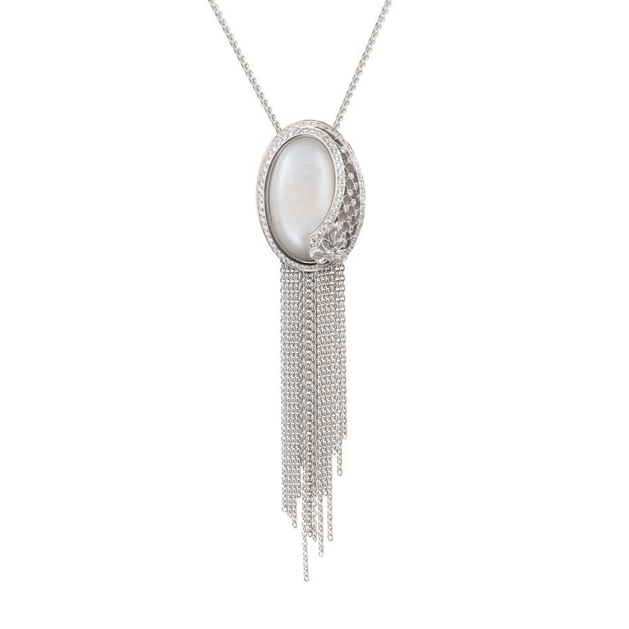 Carrera y Carrera Sierpes necklace in white gold, moonstone and diamonds.