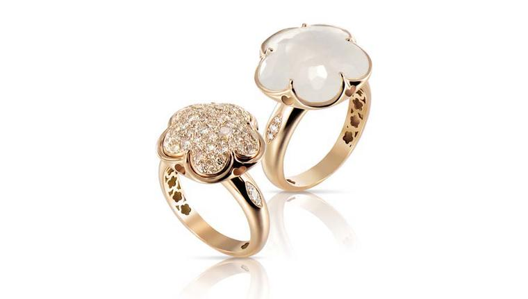 Pasquale Bruni Bon Ton rings with, right, milky white quartz and diamonds.