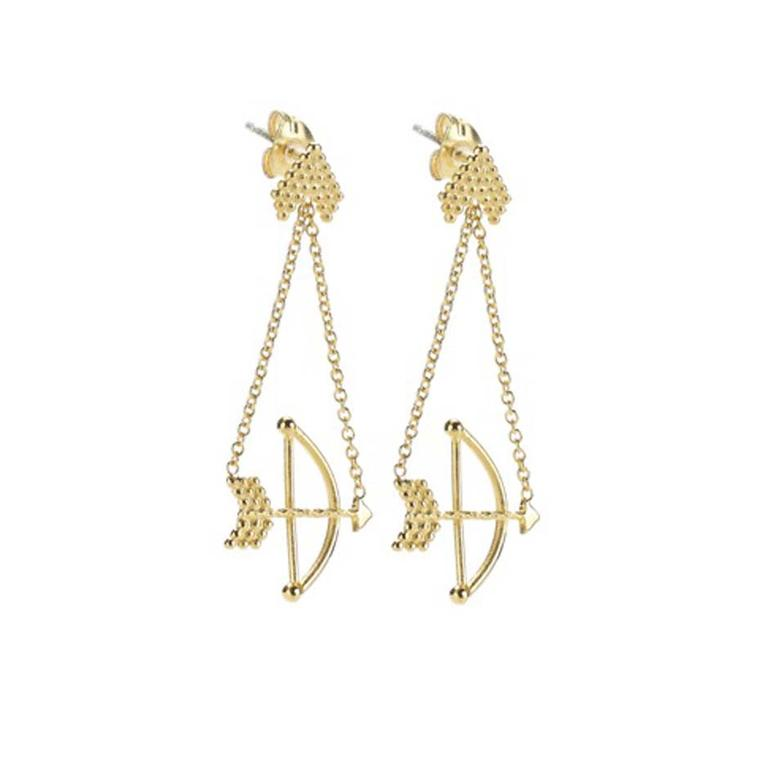 Phoebe Colman Braveheart Bow and Arrow Chain earrings in gold.