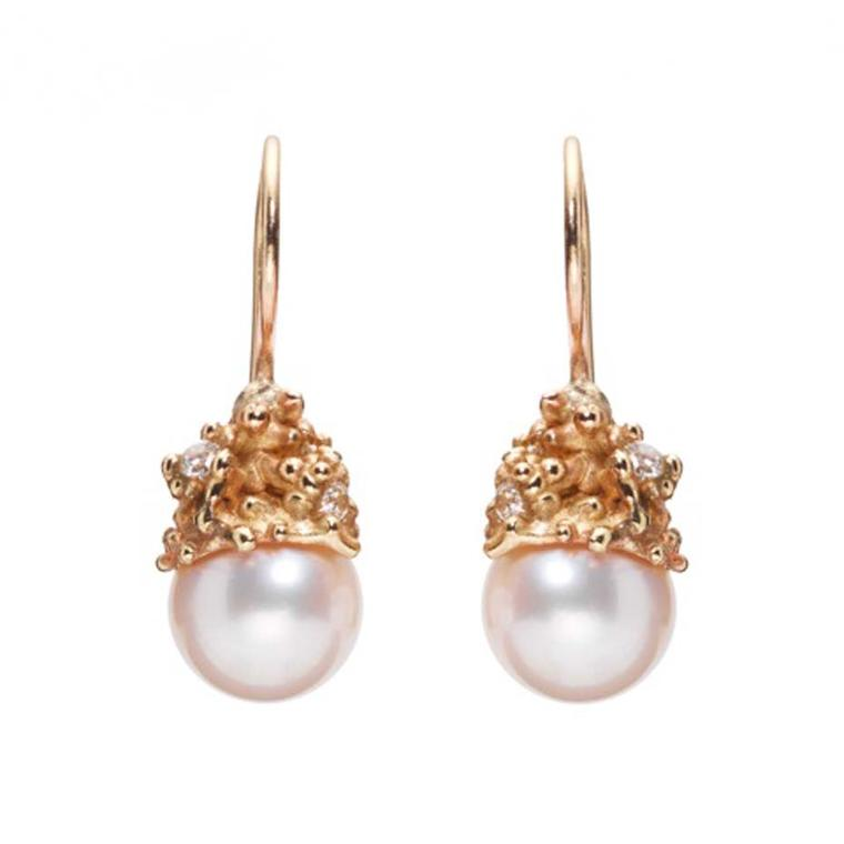Ruth Tomlinson rose gold and pearl earrings.