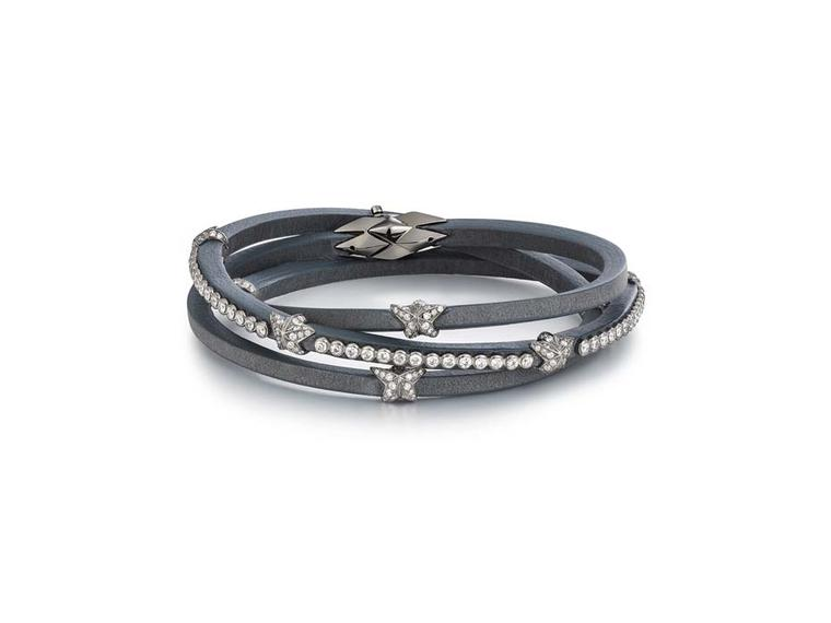 Tomasz Donocik Earl Grey leather wrap bracelet with diamonds, from the new Fine Bracelet collection.