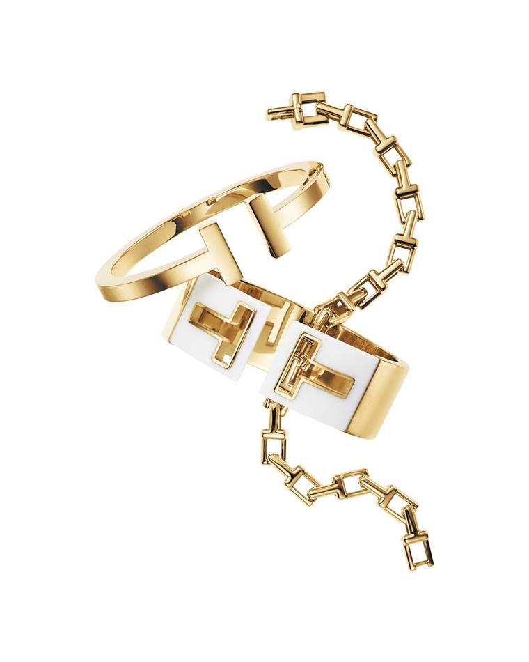 Tiffany and Co.'s Tiffany T collection bracelets in yellow gold include the chain, hinged cuff and square bracelets. The mix-and-match combinations are virtually endless, presenting the wearer with ample options to create her own look.