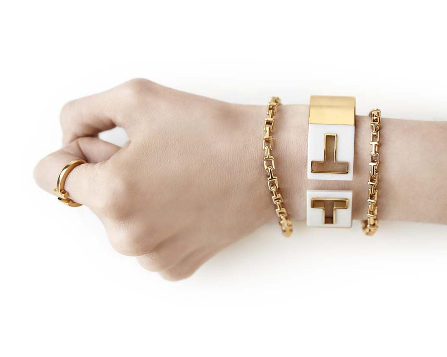 Tiffany and Co. Tiffany T ring in rose gold, chain bracelets and bar hinged cuff.