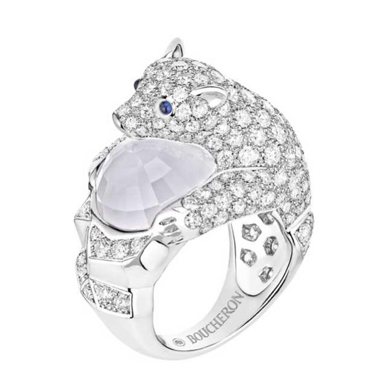 Boucheron Nanook ring with a faceted moonstone cradled in the arms of a pavé-diamond set polar bear.