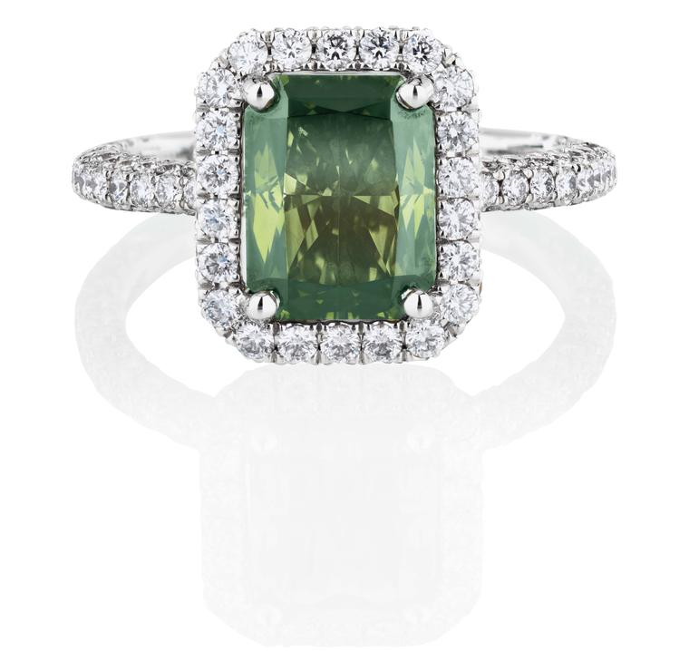 De Beers 188 Master Diamonds Aura Solitaire ring, set with a 2.23ct Fancy dark yellowish green emerald-cut diamond.