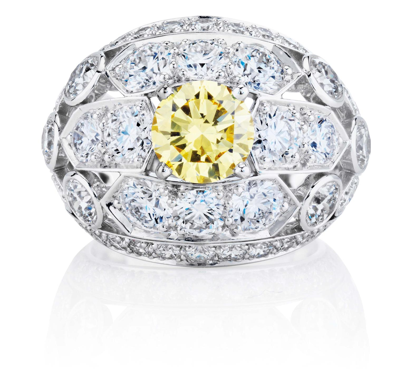 De Beers 1888 Creative Solitaires Phenomena Frost Flower ring, set with a central yellow diamond.