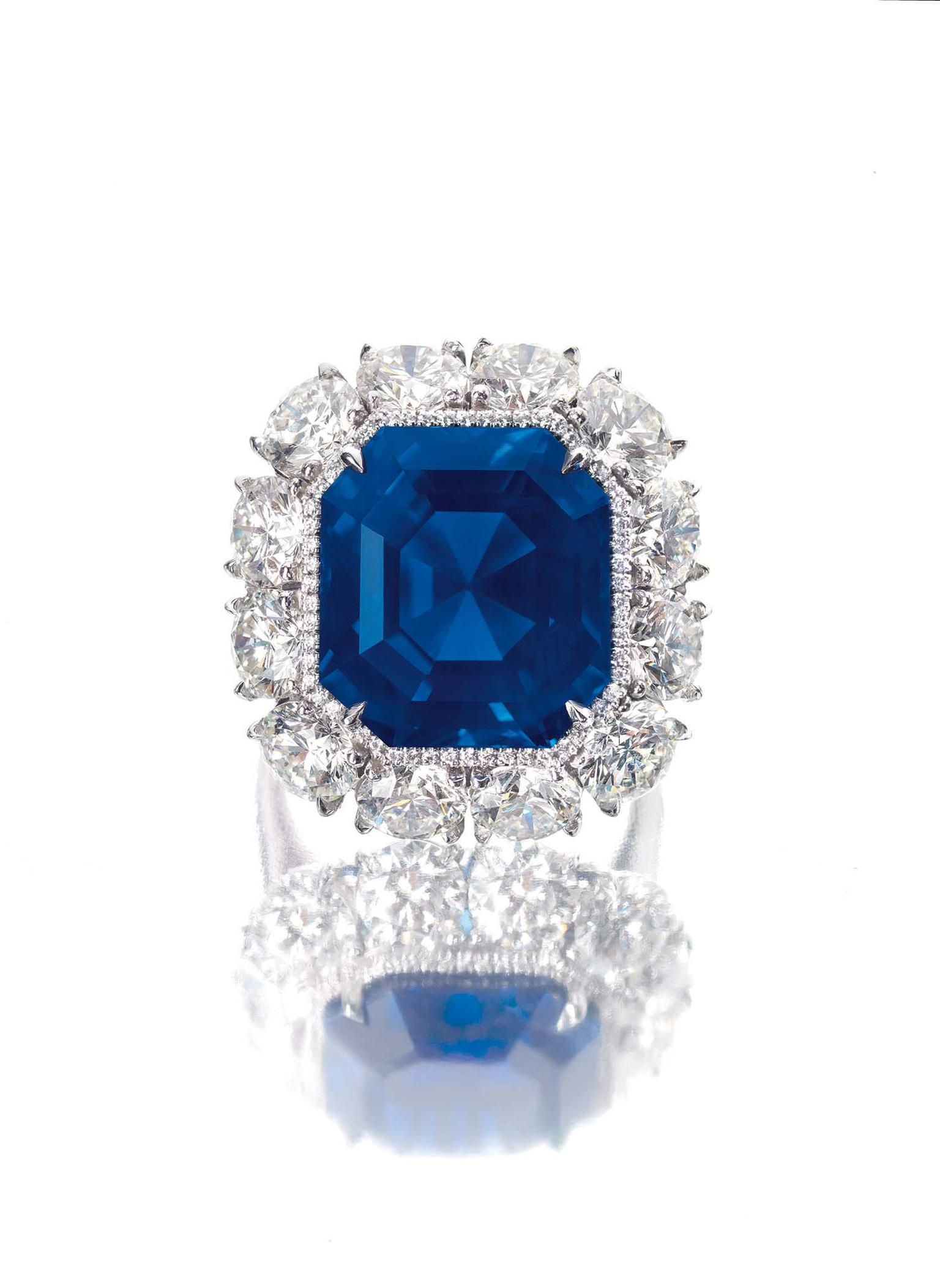 An Imperial Kashmir sapphire and diamond ring featuring a 17.16ct intense cornflower blue coloured sapphire also achieved a world auction record for price per carat for a sapphire when it sold for US$4.06 million or US$236,404 per carat.