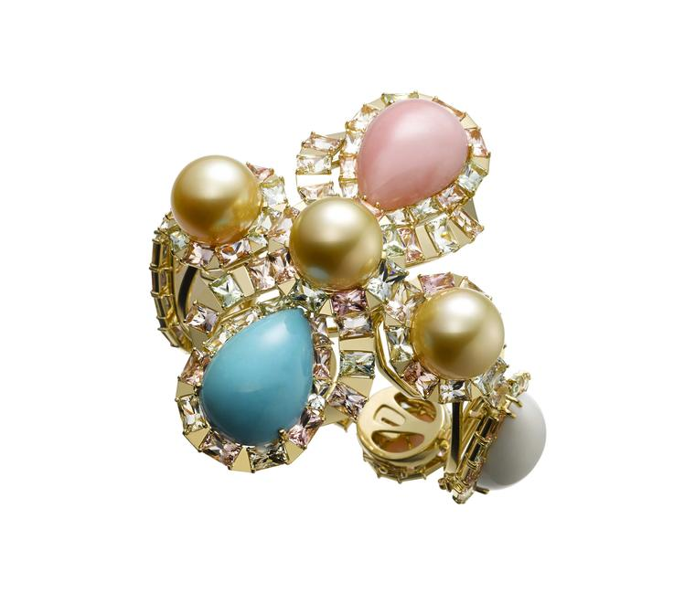 AS by Atsuko Sano Arabian Night collection convertible yellow gold bracelet with golden pearls, cacholong, pink opal, turquoise and multi-coloured tourmalines.
