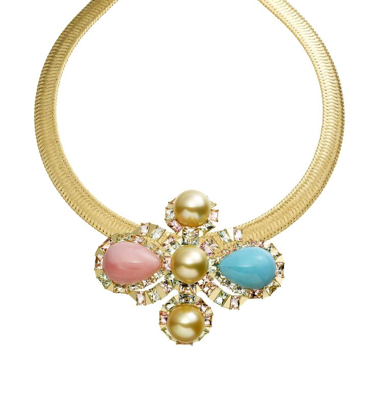 This AS by Atsuko Sano Arabian Night collection jewel can also be worn as a necklace in yellow gold, with golden pearls, cacholong, pink opal, turquoise and multi-coloured tourmalines.