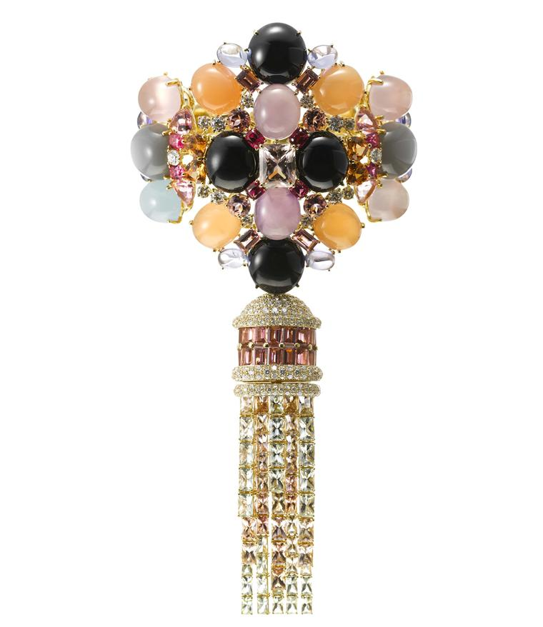 AS by Atsuko Sano Arabian Night convertible yellow gold bracelet with diamonds, grey and orange moon stones, purple chalcedonies, onyx, tanzanites, pink tourmalines, spinels, peridots, amethysts and mandarin garnets.