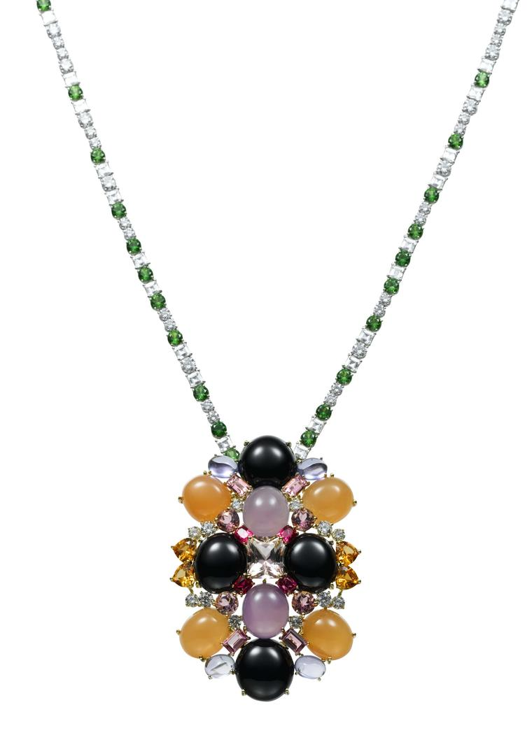 AS by Atsuko Sano Arabian Night removable yellow gold pendant with diamonds, orange and purple chalcedonies, onyx, tanzanites, pink tourmalines, spinels and mandarin garnets on a white gold, emerald and diamond chain.