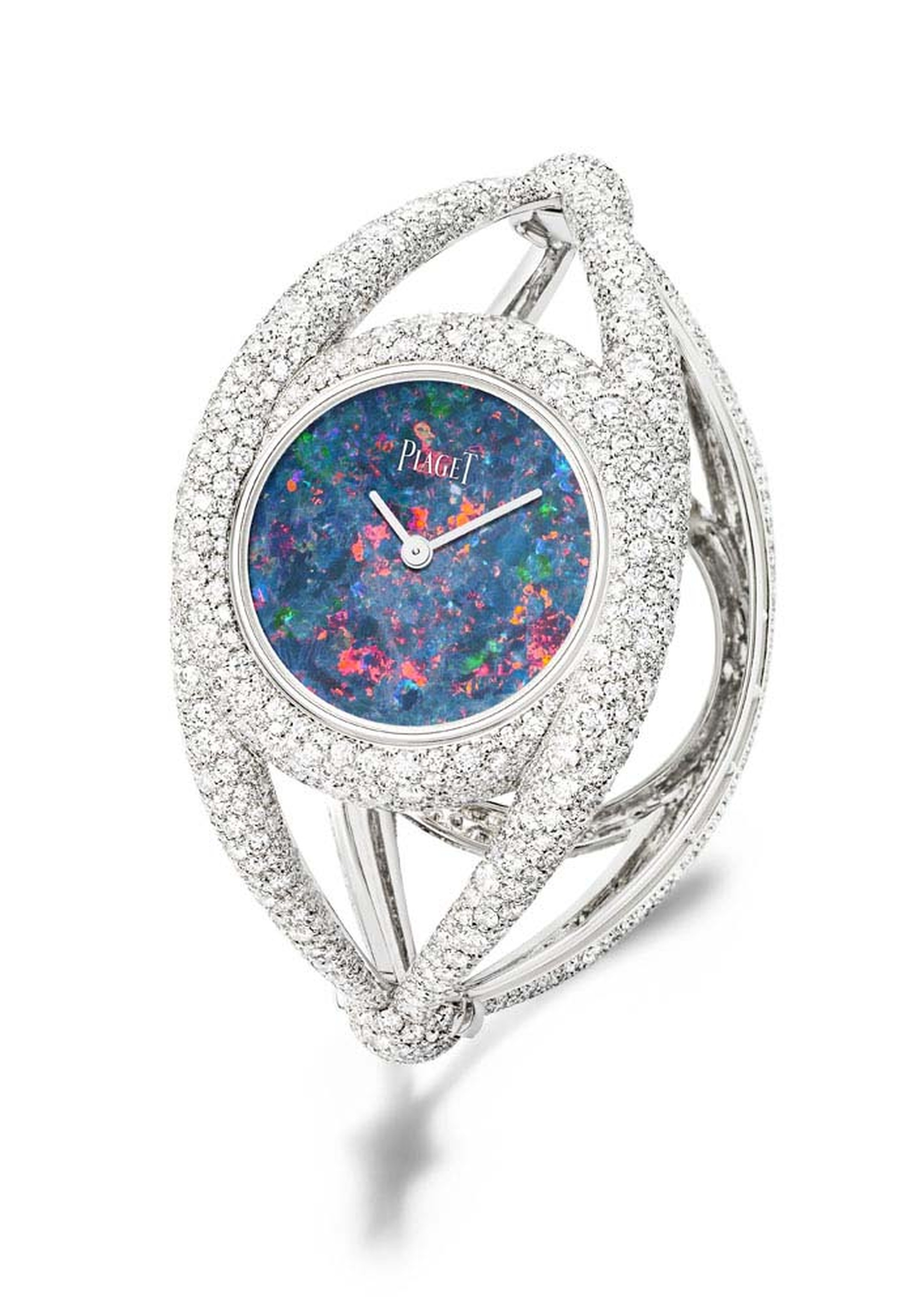 Cuff timepiece from the Extremely Piaget high jewellery collection in white gold with a natural blue opal dial and 1,699 brilliant-cut diamonds.