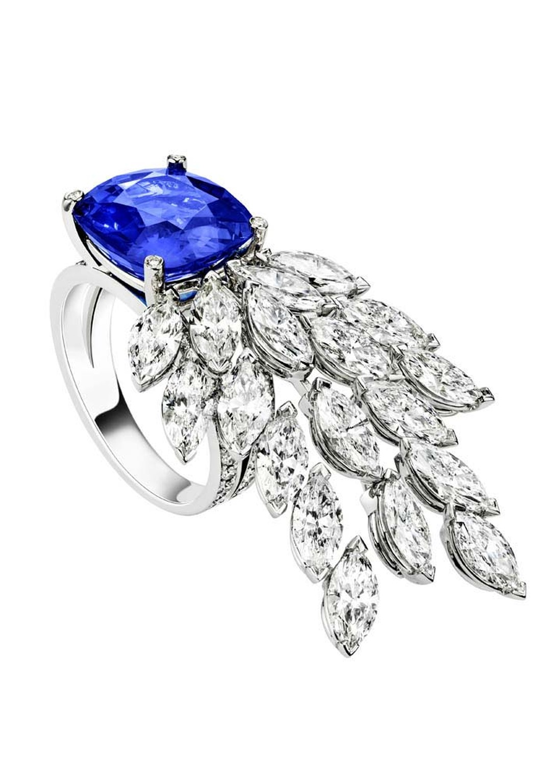 Extremely Piaget collection ring in white gold set with a cushion-cut blue sapphire, marquise-cut diamonds and brilliant-cut diamonds.