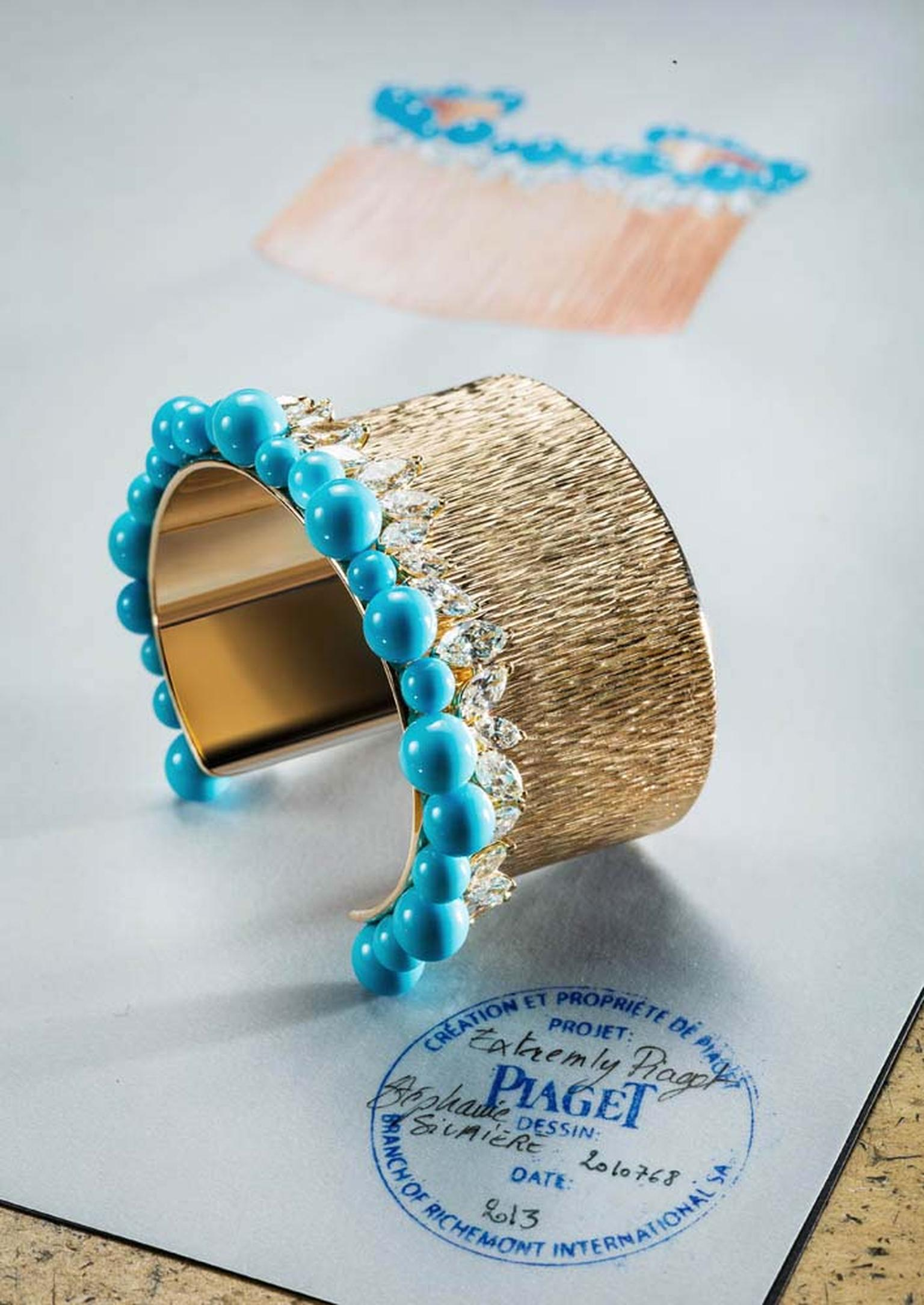 Extremely Piaget collection Palace bracelet in pink gold set with 32 marquise-cut diamonds and 23 turquoise beads.