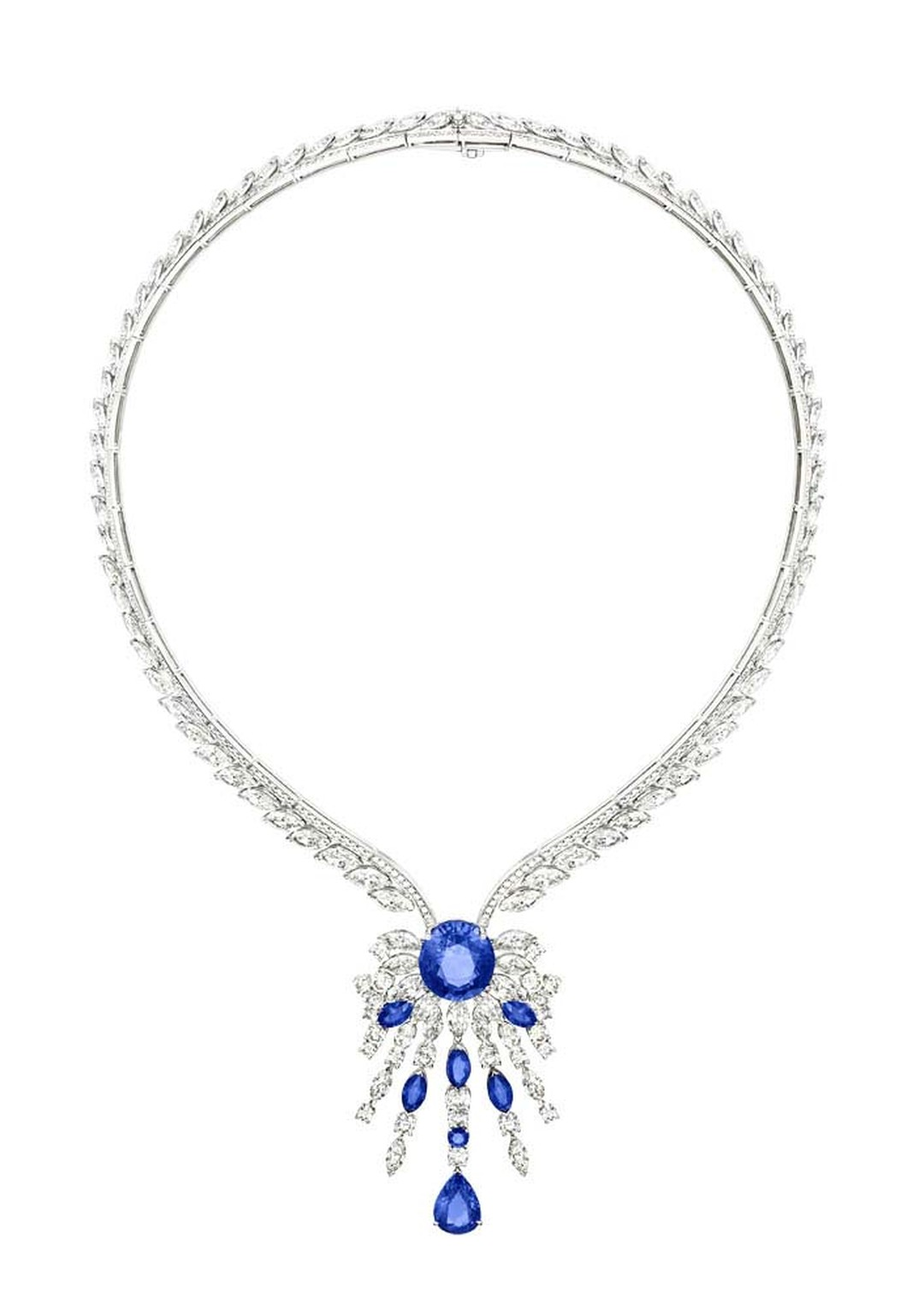 Extremely Piaget collection necklace in white gold set with 23.11ct marquise-cut diamonds, a 14.28ct oval-cut blue sapphire, brilliant-cut diamonds, marquise-cut blue sapphires, a pear-shaped blue sapphire and a brilliant-cut blue sapphire.