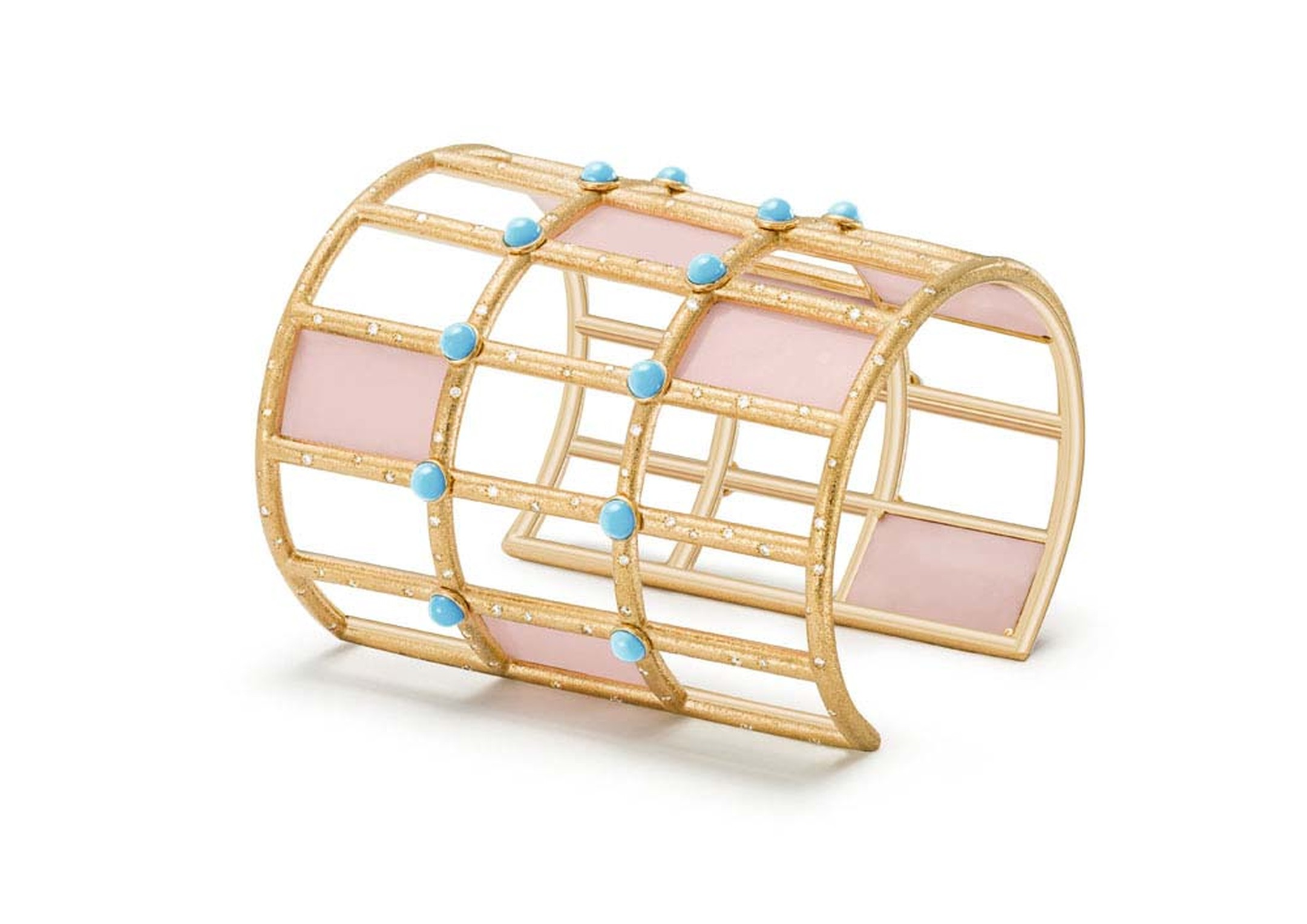 Extremely Piaget cuff bracelet in pink gold set with pink opal plates, turquoise beads and brilliant-cut diamonds.