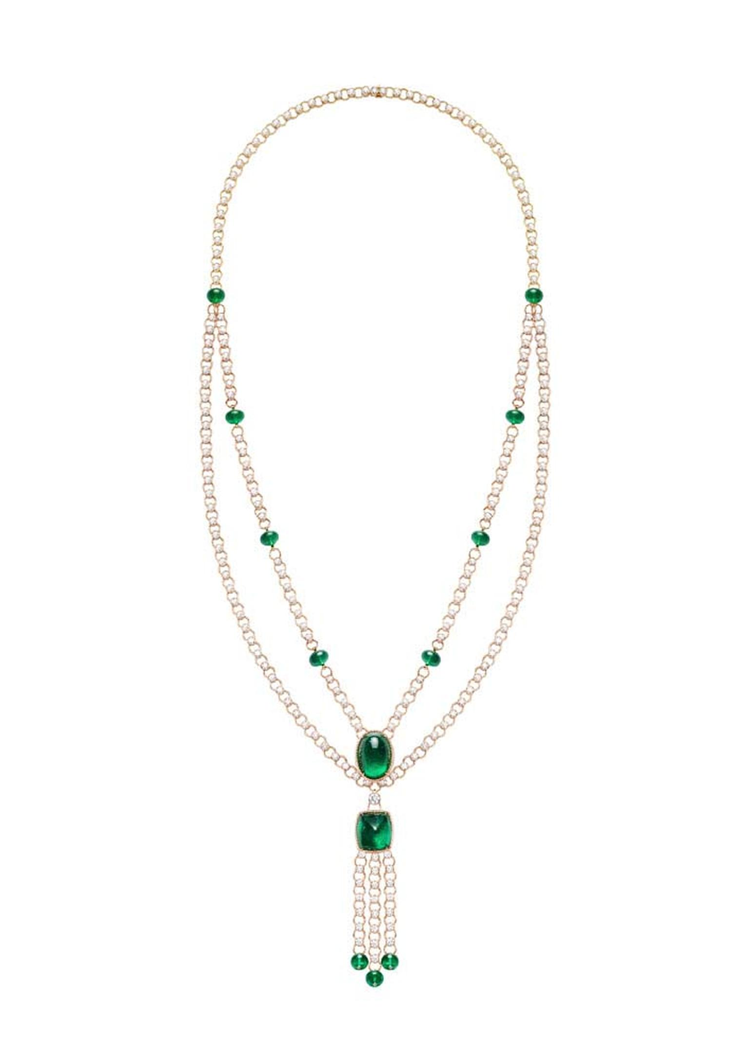 Extremely Piaget collection necklace in pink gold set with 48.54ct emerald beads, 29.57ct brilliant-cut diamonds, a 25.38ct oval cabochon-cut emerald and a 20.27ct sugarloaf emerald.