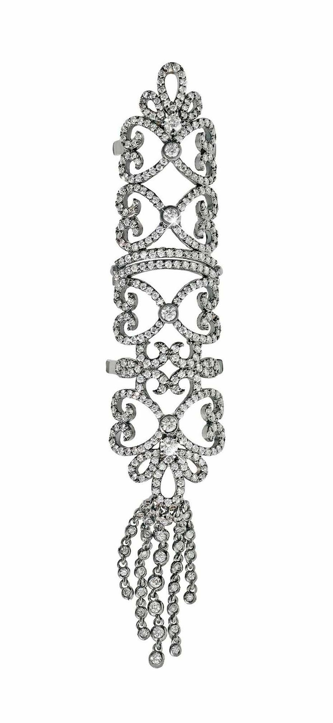 Noudar Jewels white gold Tassel ring with diamonds.