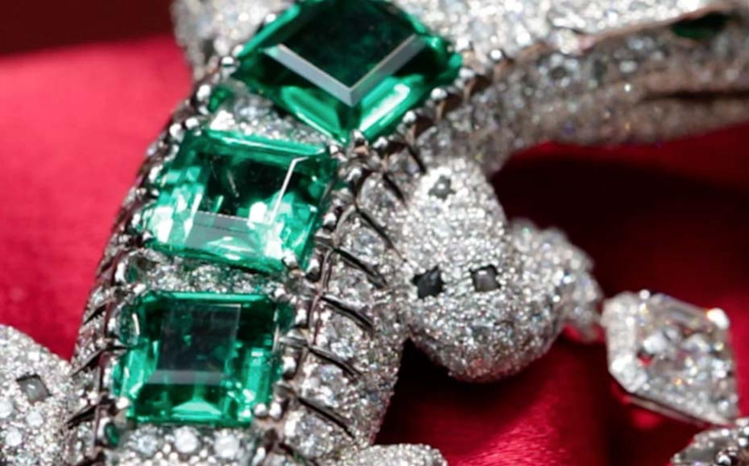 Cartier Alligator brooch with diamonds and emeralds from the new Royal high jewellery collection.