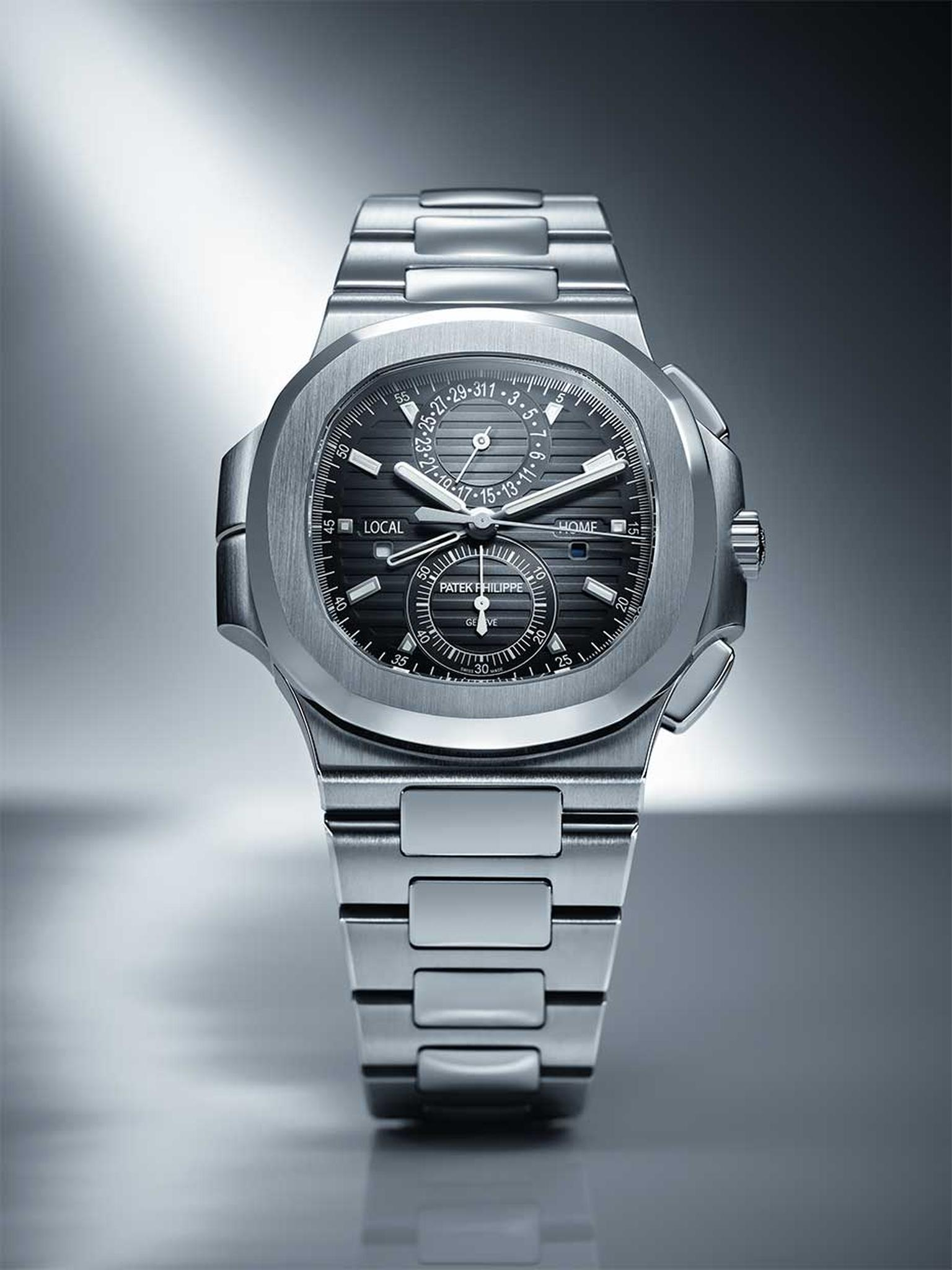 The Patek Philippe 5990 Nautilus Travel Time Chronograph watch features a pusher system for the second time zone, which has been carefully integrated on the left side of the case.