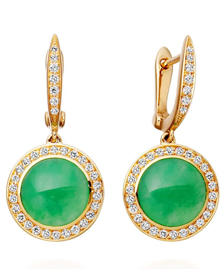 Astley Clarke Leah earrings in gold with chrysoprase and pavé diamonds (£3,750).