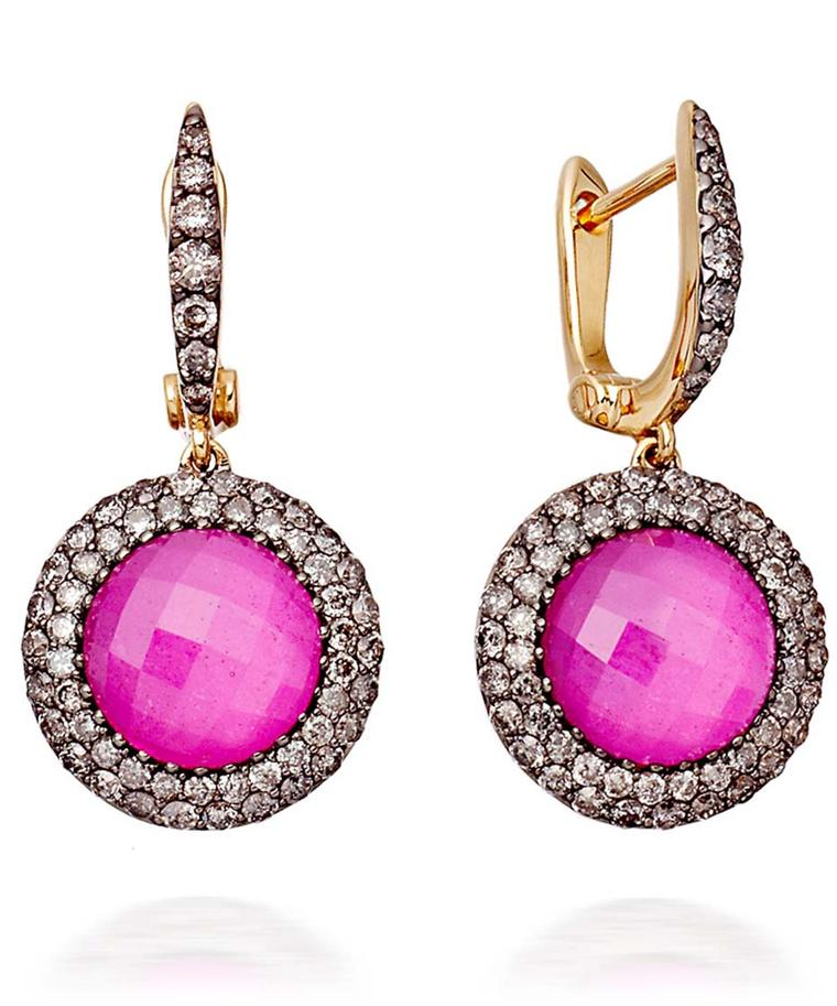Astley Clarke Mini Connie earrings with rubies surrounded by pavé diamonds (£3,950).