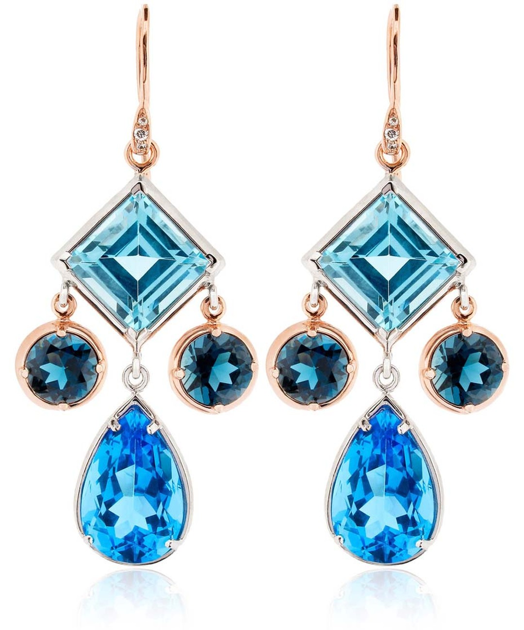 Dinny Hall Amelie Anniversary earrings with various hues and shapes of blue topaz (£1,200).