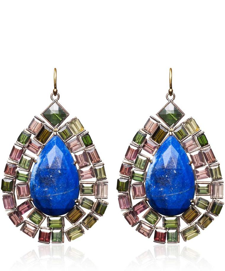 Nak Armstrong drop earrings set with green and pink tourmaline and lapis lazuli (£2,565).