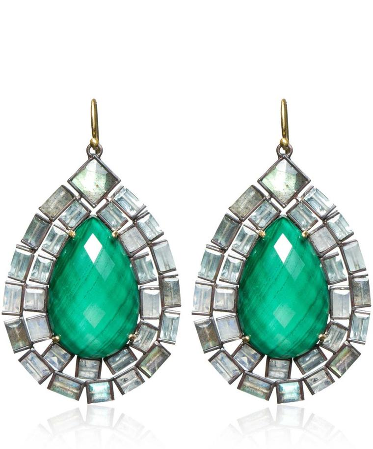 Nak Armstrong yellow gold drop earrings featuring malachite quartz and labradorites (£3,465).