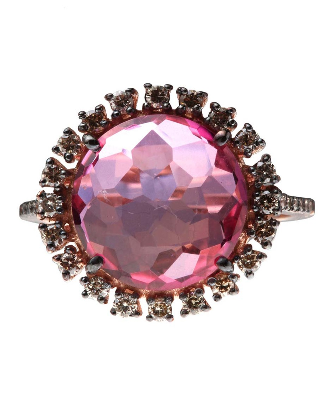 Suzanne Kalan pink topaz and champagne diamond ring (£1,600).