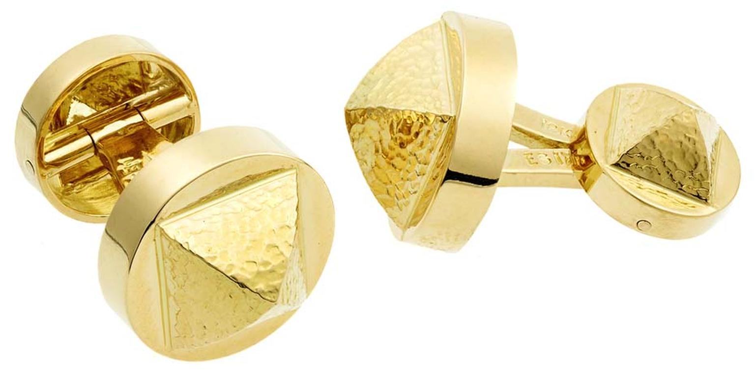 David Webb Tool Chest Collection Bastille gold cufflinks feature the main pyramid motif from the David Webb Bastille jewellery collection. Crafted from Webb's signature hammered yellow gold, the Bastille motif sits upon a solid base that is attached to a