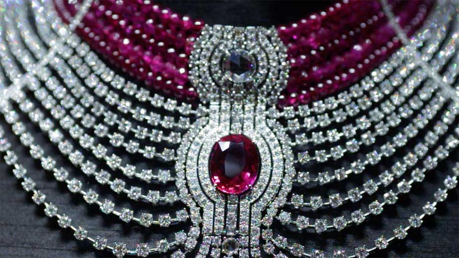 Created especially for the Biennale des Antiquaires, Cartier's Royal collection Reine Makéda necklace stars a 15ct oval-shaped ruby from Mozambique.