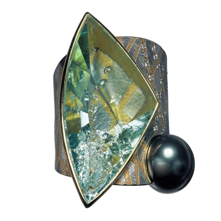 Atelier Zobel ring in platinum and gold, set with an aquamarine, Tahitian pearl and champagne diamonds.