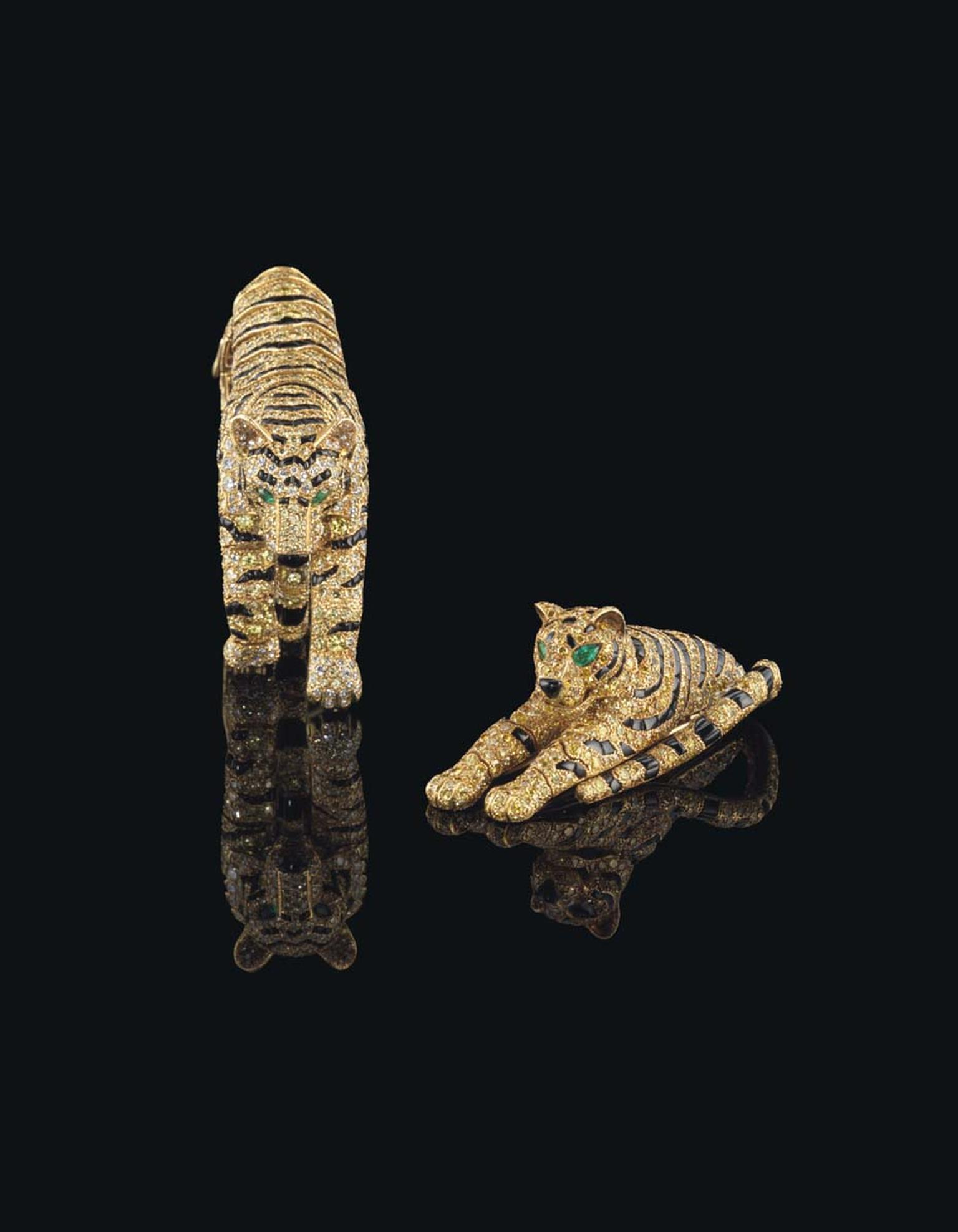 A Cartier Tiger brooch and bracelet with diamonds, onyx and emeralds, once owned by the Duchess of Windsor, sold for $3.14 million at Christie's Geneva after a tense bidding battle between collectors both on the phone and in the auction room.