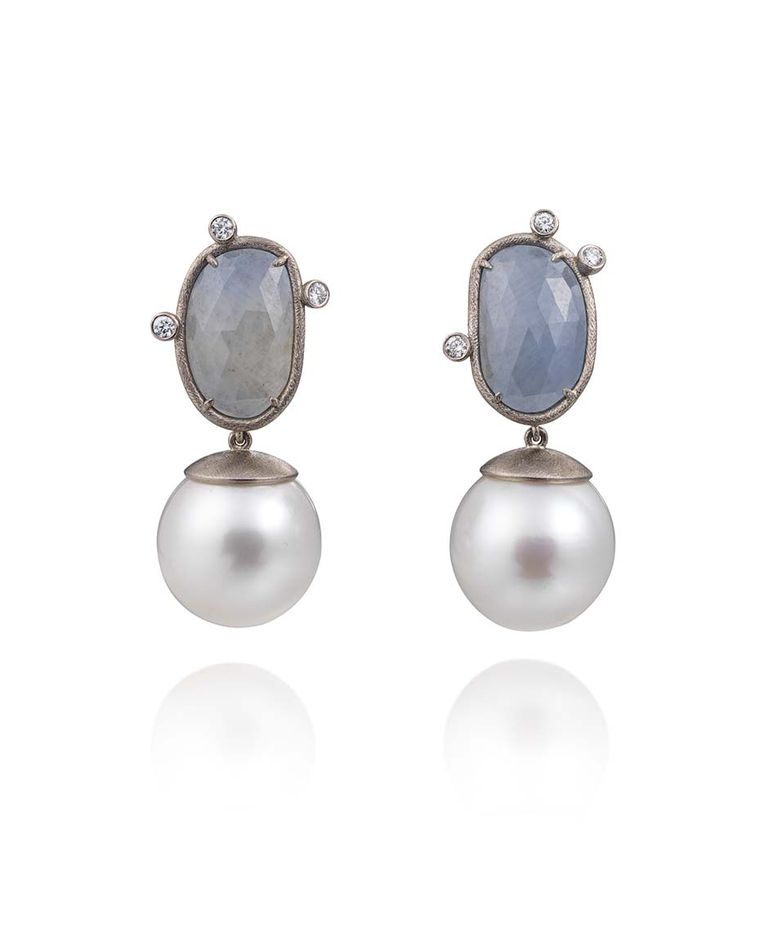 Mikala Djorup earrings with South Sea pearls, sapphires and diamonds (£4,800).