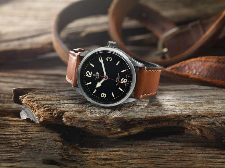 The Tudor Heritage Ranger watch features a 41mm satin-finish case encircling a matte black dial. Its distinctive pear-shaped hands are inspired by the historic Tudor Ranger models.