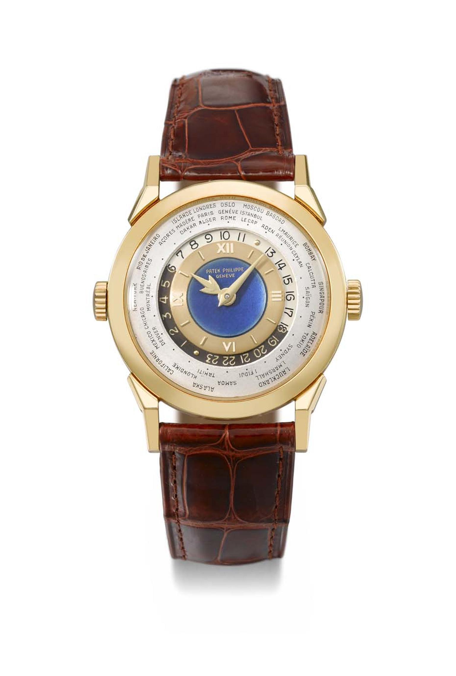 In keeping with the jet-set era, the Patek Philippe Reference 2523 gold world time watch features a blue enamel dial with indications of time around the world.