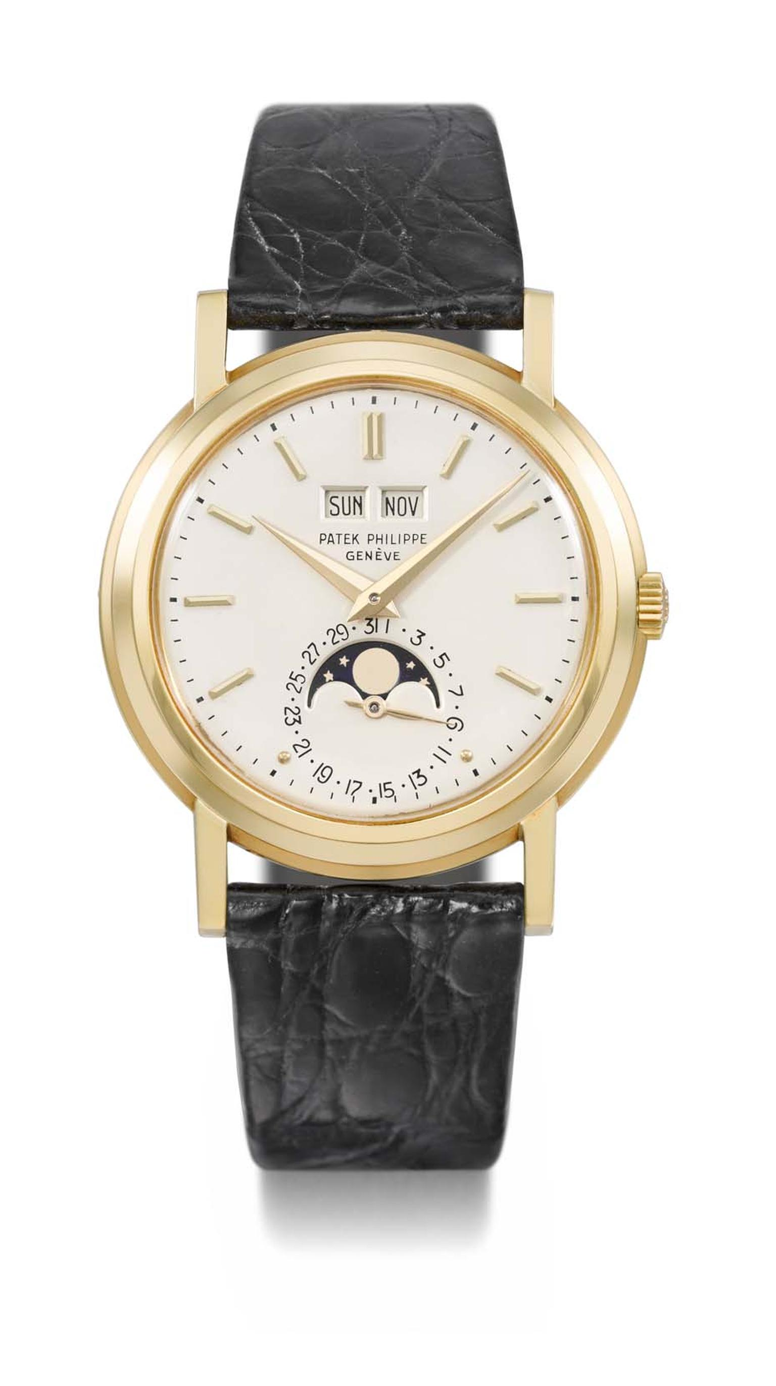 "The Patek Philippe ""Tre Scalini"" Ref 3449 watch is one of only three made and features a hand-­wound movement, perpetual calendar and Moon phases."