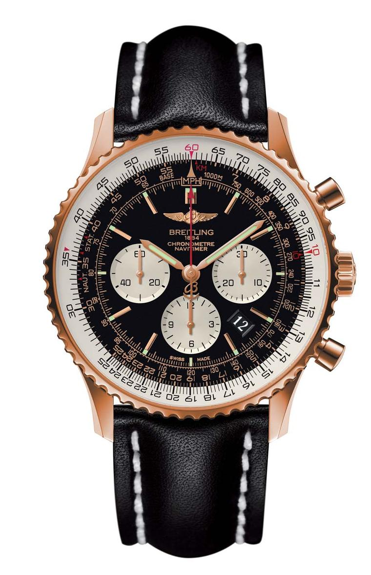 Launched in 1952 as a wrist instrument for pilots, the Breitling Navitimer GMT watch features a circular slide rule and can handle all calculations relating to airborne navigation.