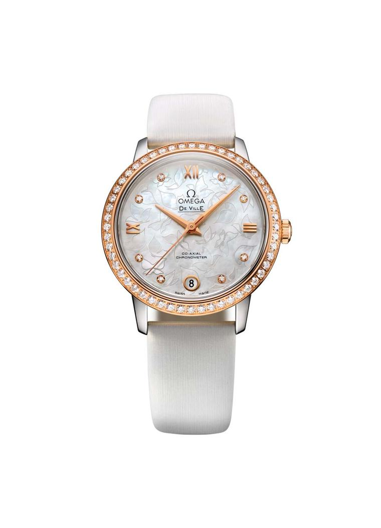 Graceful and feminine with its sprinkling of diamonds, white mother-of-pearl dial and butterfly pattern background, the Omega De Ville Prestige Butterfly watch features a 32.7mm case housing Omega's famous Co-Axial calibre 2500, which is COSC-certified as