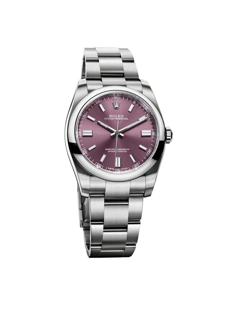 The Rolex Oyster Perpetual watch is the purest expression of the Oyster. The Perpetual model offers a clear, accurate time display against the red grape dial.