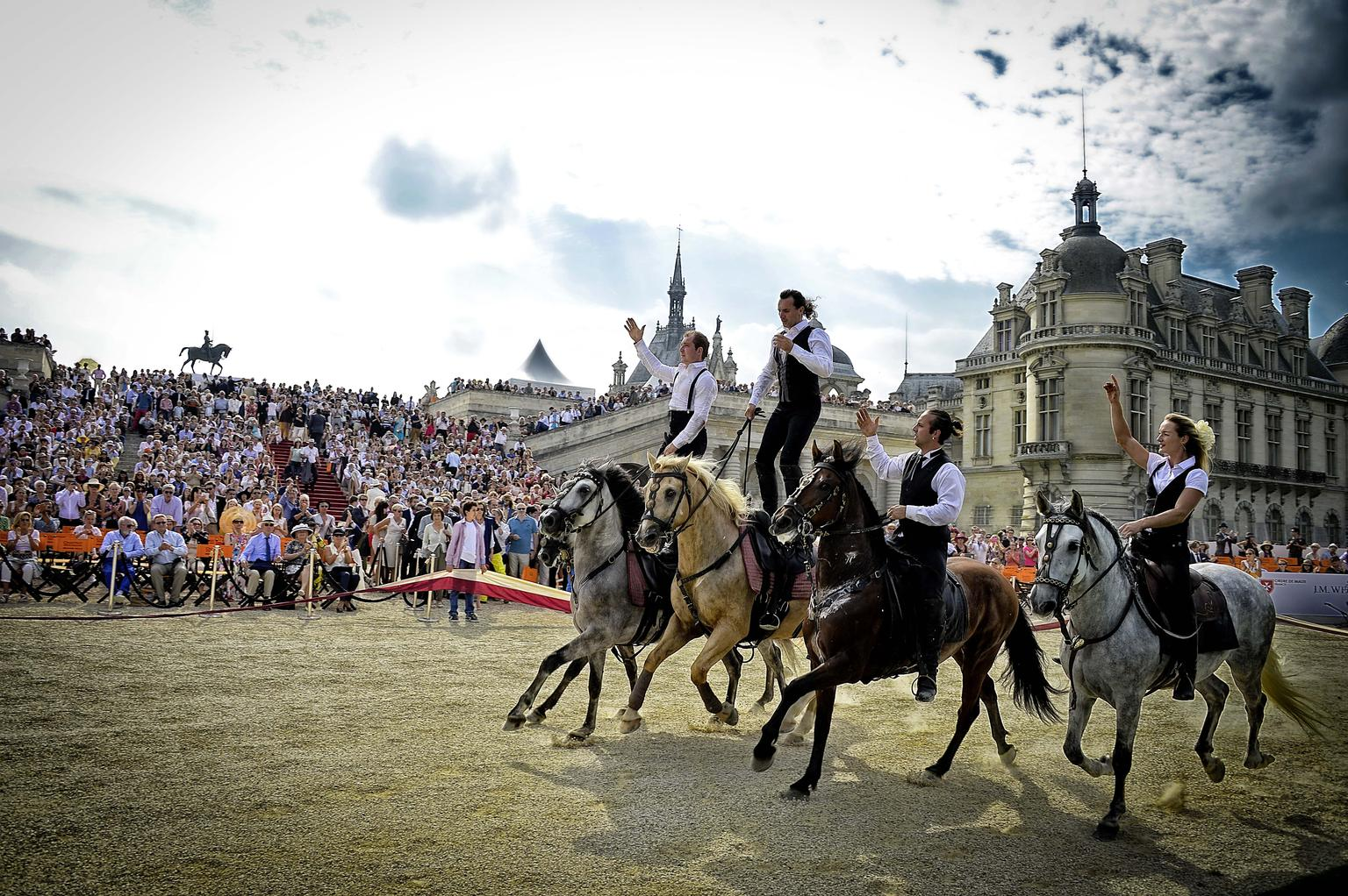 An earlier form of transport, the horse, was celebrated in a spectacular show of equestrian daring.