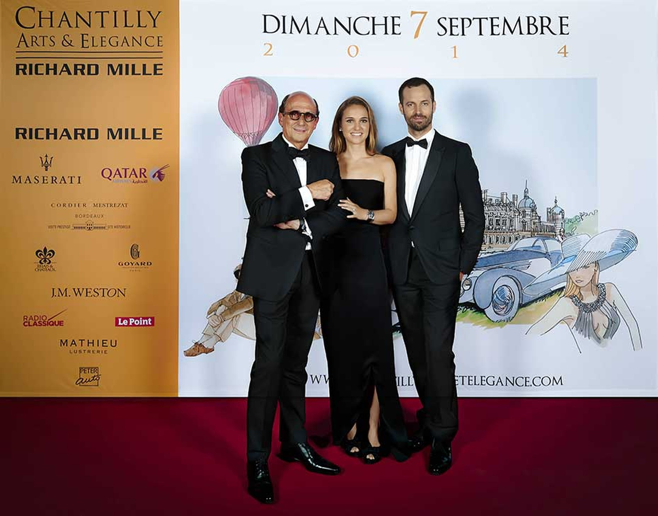 Richard Mille, Natalie Portman and Benjamin Millepied at the Chantilly Arts & Elegance gala dinner on Saturday night.