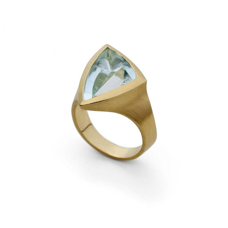 McCaul Goldsmiths Carve collection aquamarine ring in gold.