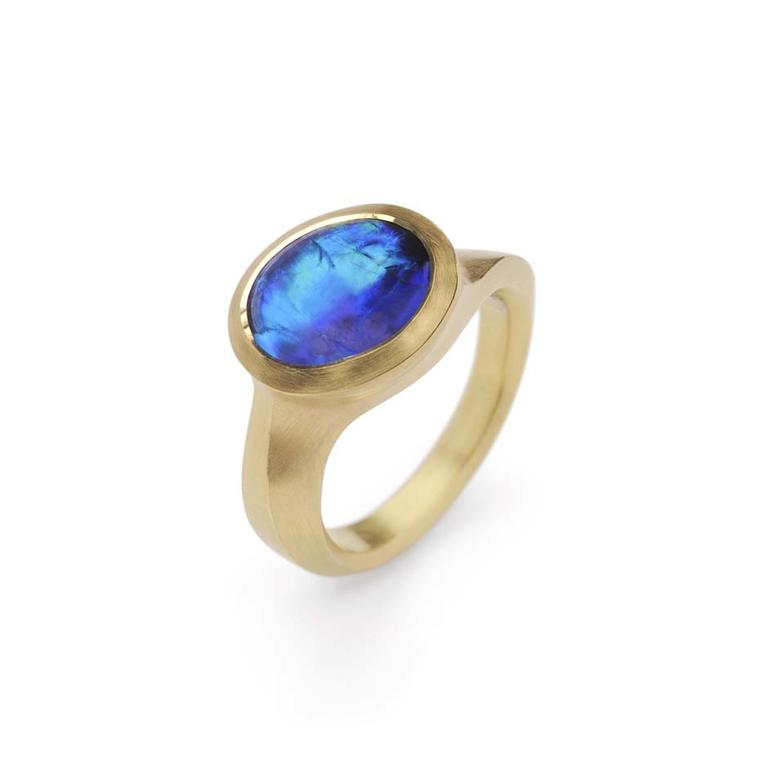 McCaul Goldsmiths Carve collection ring with a Lightning Ridge opal set in gold.