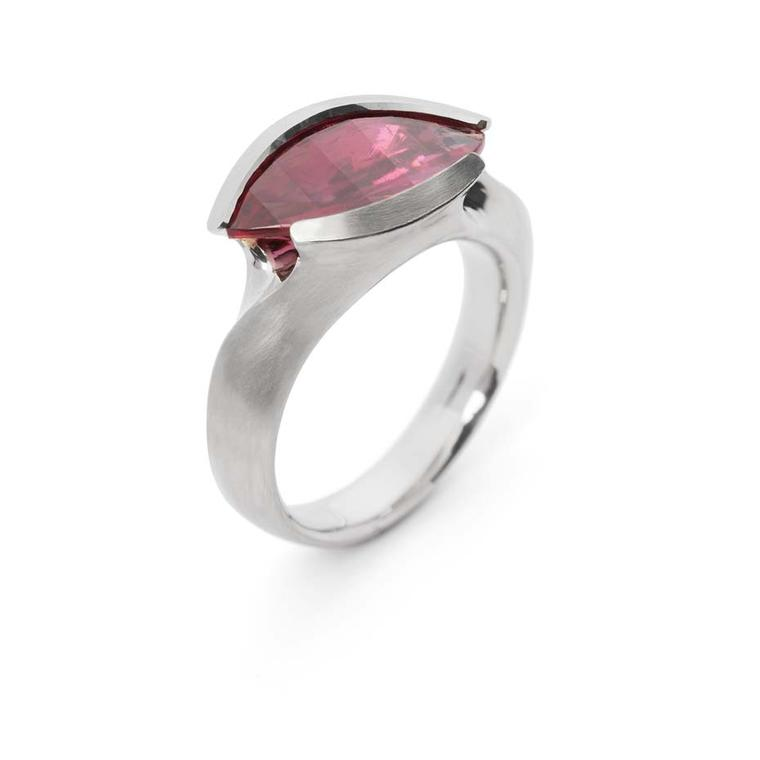 McCaul Goldsmiths Carve collection rubellite ring.