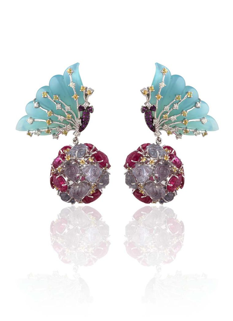 Mirari Butterfly drop earrings with carved blue onyx wings, tourmaline flower spheres, yellow sapphires and diamonds.