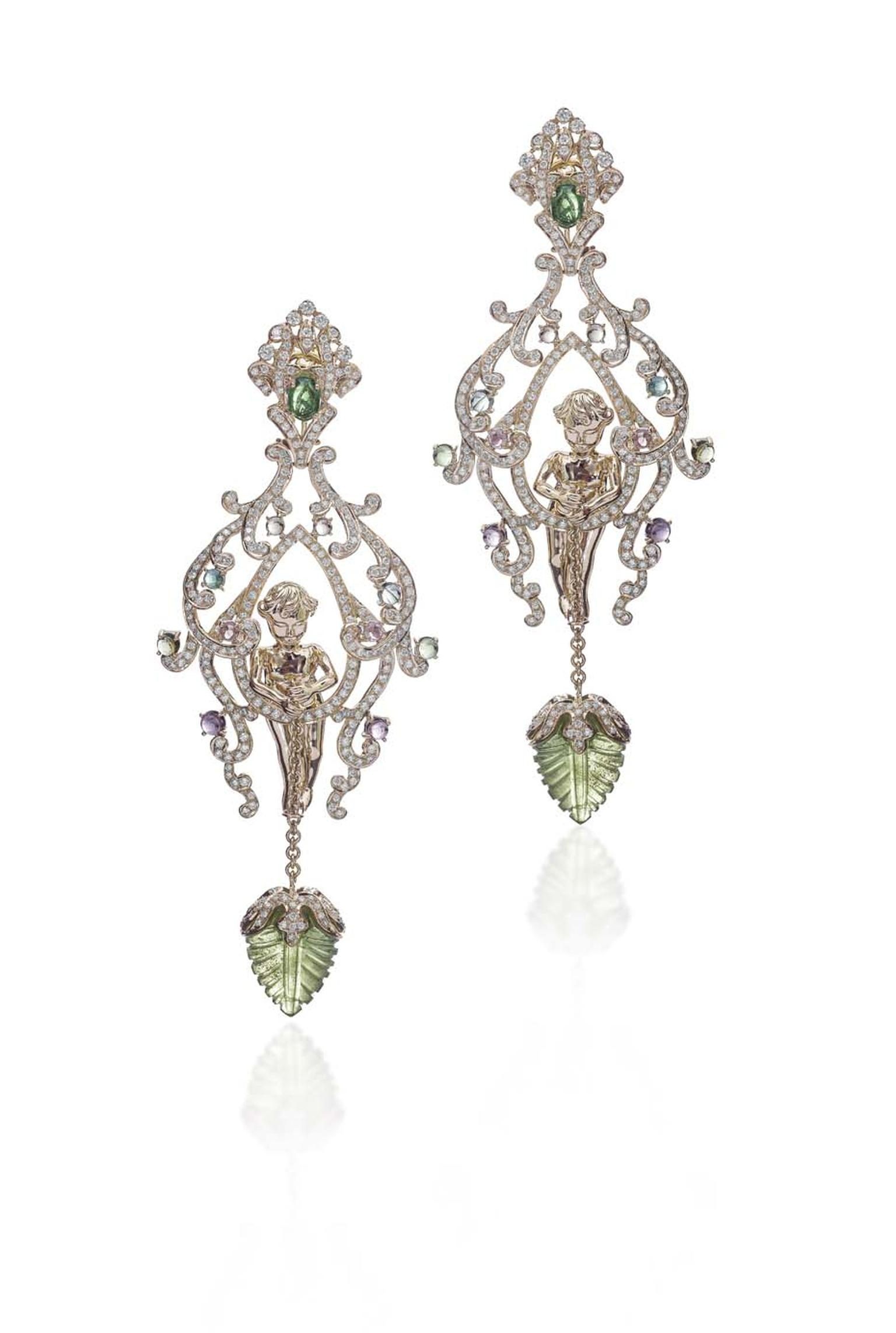 Farah Khan chandelier gold Angel earrings, inspired by Victorian elegance, set with peridot leaf carvings, multi-coloured tourmaline cabochons and diamonds.
